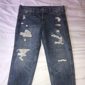Hollister boyfriend ripped jeans